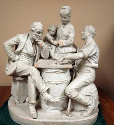 Checkers Up On the Farm sculpture by John Rogers, depicting 2 men playing checkers while a woman hol