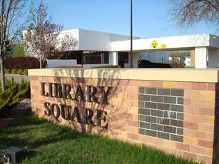 Library Square stone sign in front of the library