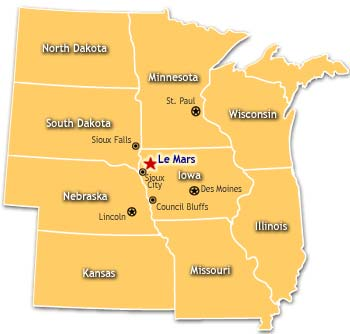 Location Map of North Dakota, Sioux Falls, South Dakota, Lincoln, Nebraska, Kansas, and more
