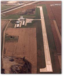 An aerial view of the Le Mars Municipal Airport