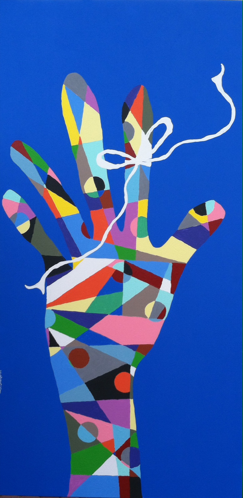 Artwork of a multi colored hand with a white string tied around the 1st finger