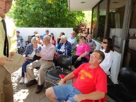 Friends of the Library members enjoy music outside during the Down on the Farm Event.