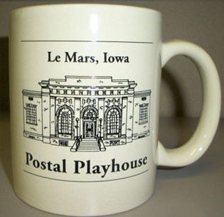 Front of the Le Mars, Iowa Postal Playhouse mug
