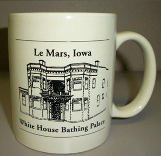 Front of the Le Mars, Iowa White House Bathing Palace mug