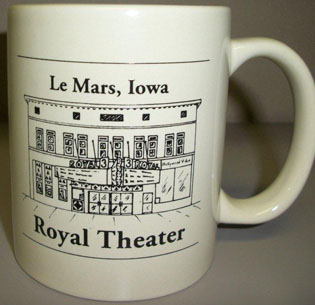 Front of the Le Mars, Iowa Royal Theater mug