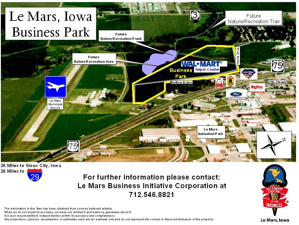Image shows parts of the business park, including future nature and recreation trail, pond, and recr